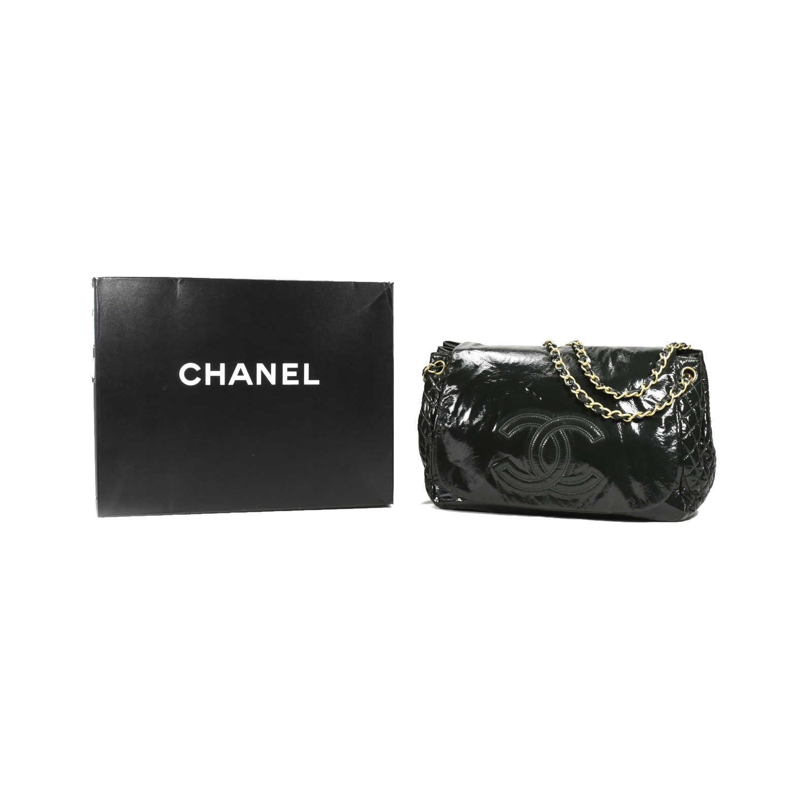 540b1a01462d ... Authentic Second Hand Chanel Patent Vinyl Rock and Chain Large Flap Bag  (PSS-200 ...