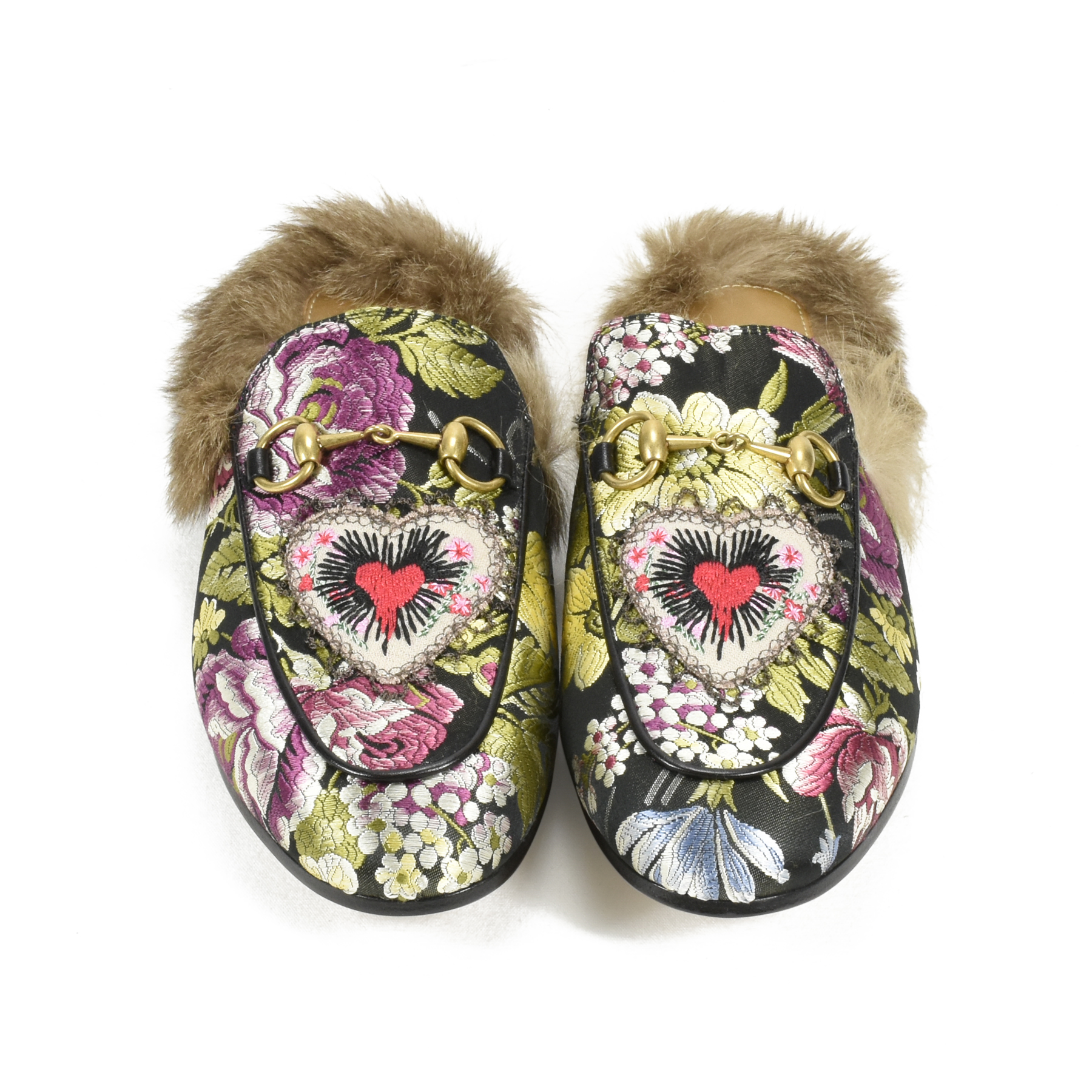 7e69adcfcc8 Authentic Second Hand Gucci Princetown Floral Brocade Slipper  (PSS-200-00981)