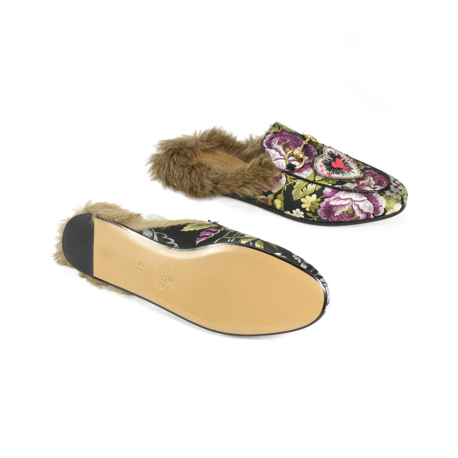 39706b31d4e ... Authentic Second Hand Gucci Princetown Floral Brocade Slipper  (PSS-200-00981) ...