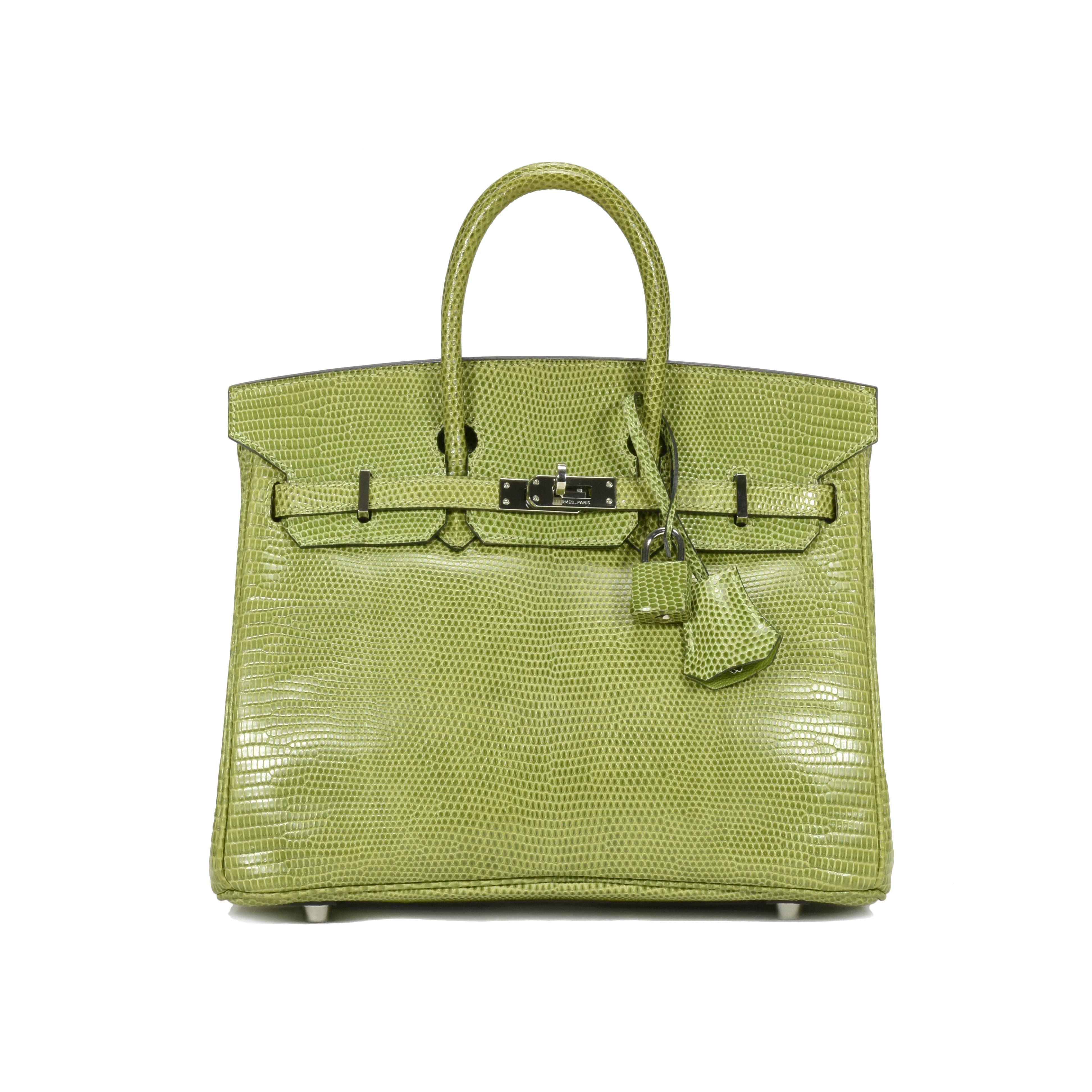 ab75eff13e8a Authentic Second Hand Hermès Vert Anis Lizard Birkin 25 (PSS-419-00001)