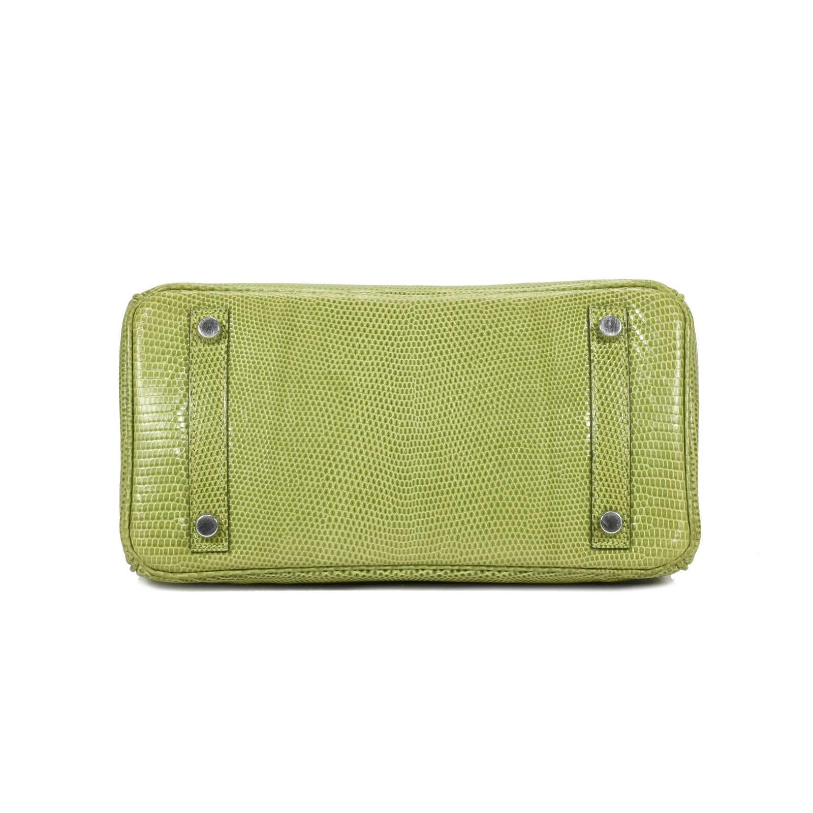 Authentic Second Hand Hermès Vert Anis Lizard Birkin 25 (PSS-419