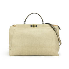 Large Canvas Snakeskin Peekaboo Bag