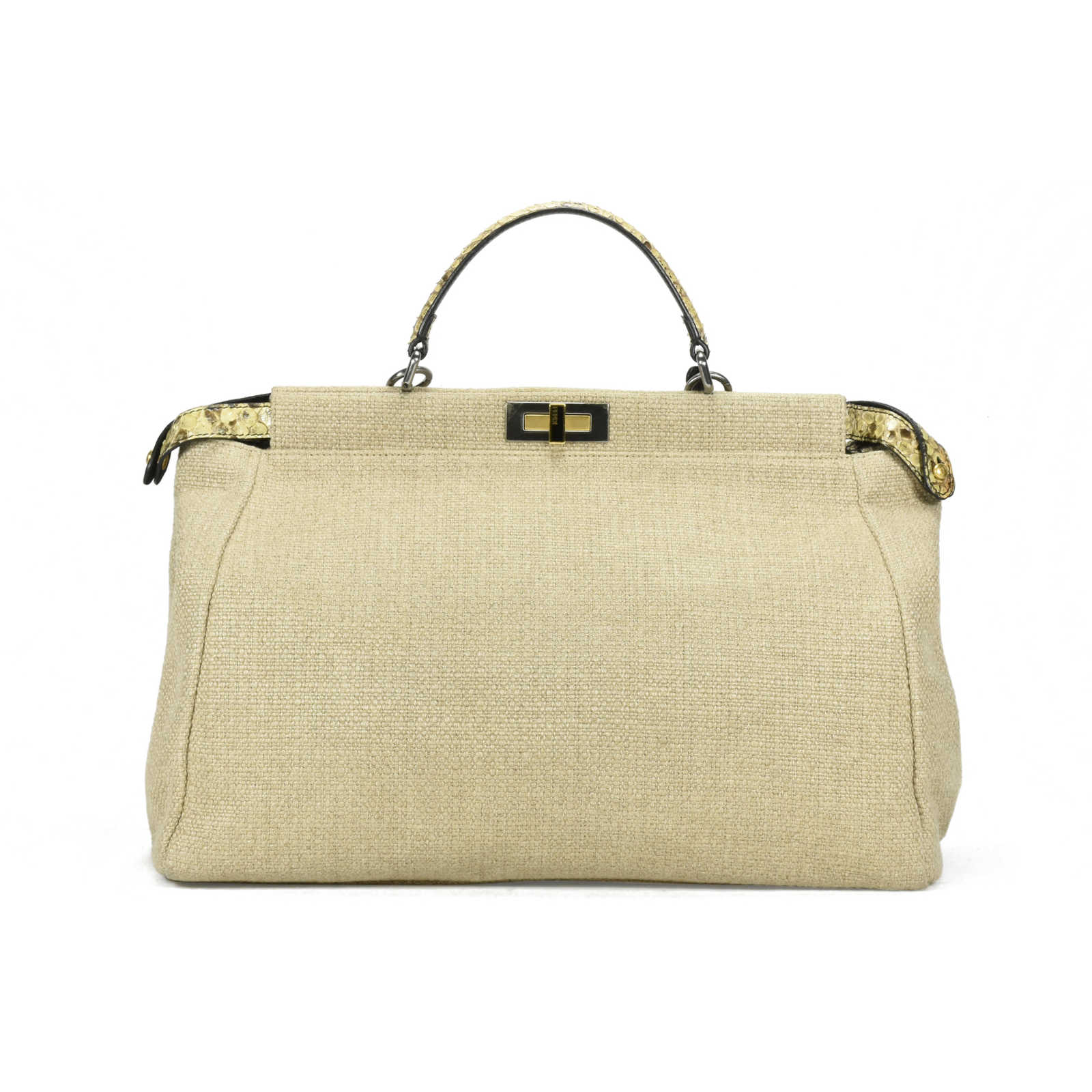 fff7556ce48 ... Authentic Second Hand Fendi Large Canvas Snakeskin Peekaboo Bag  (PSS-200-00888) ...