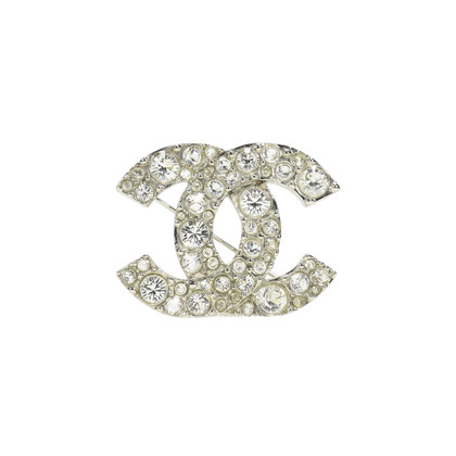 Authentic Second Hand Chanel CC Brooch with Crystals (PSS-240-00174)
