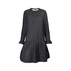Textured Flounce Silk Dress