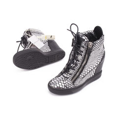 Giuseppe zanotti snake embossed metallic wedge sneakers 2?1506918182