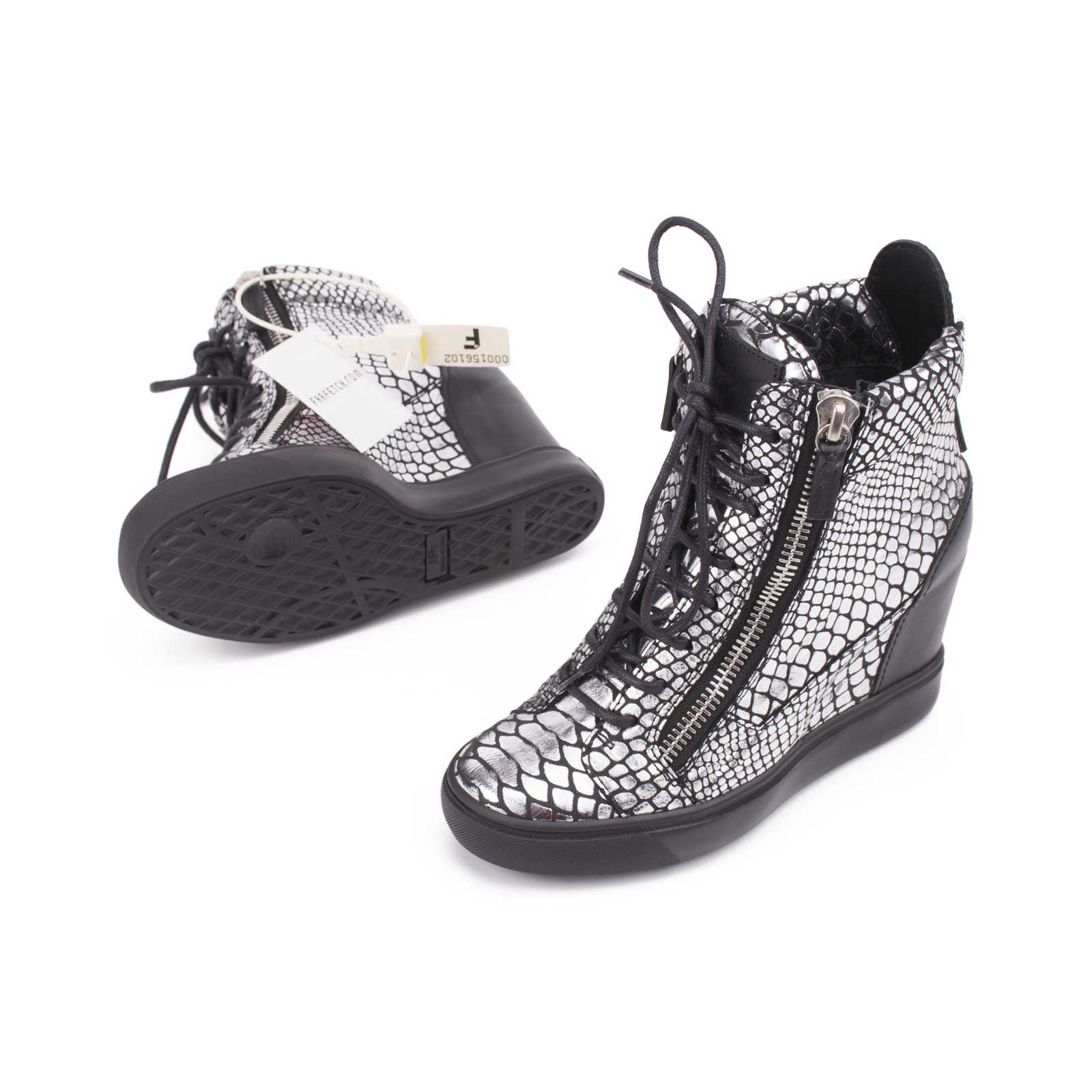 2d12862dc241 ... Authentic Second Hand Giuseppe Zanotti Snake-Embossed Metallic Wedge  Sneakers (PSS-200- ...