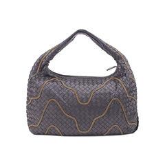 Bottega veneta ebano intrecciato woven nappa leather chain hobo bag 2?1506924680