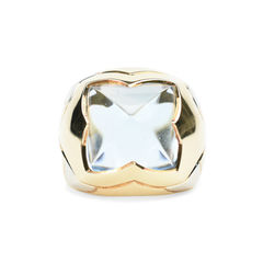 Pyramid Blue Topaz 18k Two Tone Gold Dome Ring