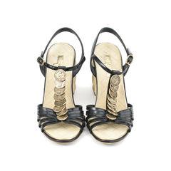 Coin Embellished Wedge Sandals