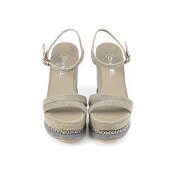 Denim Chain-Link Platform Wedge Sandals