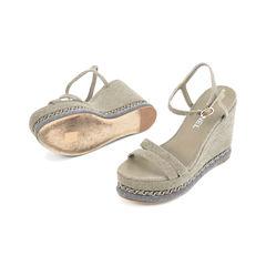 Chanel denim chain link embellished platform wedge sandals 2?1508134280