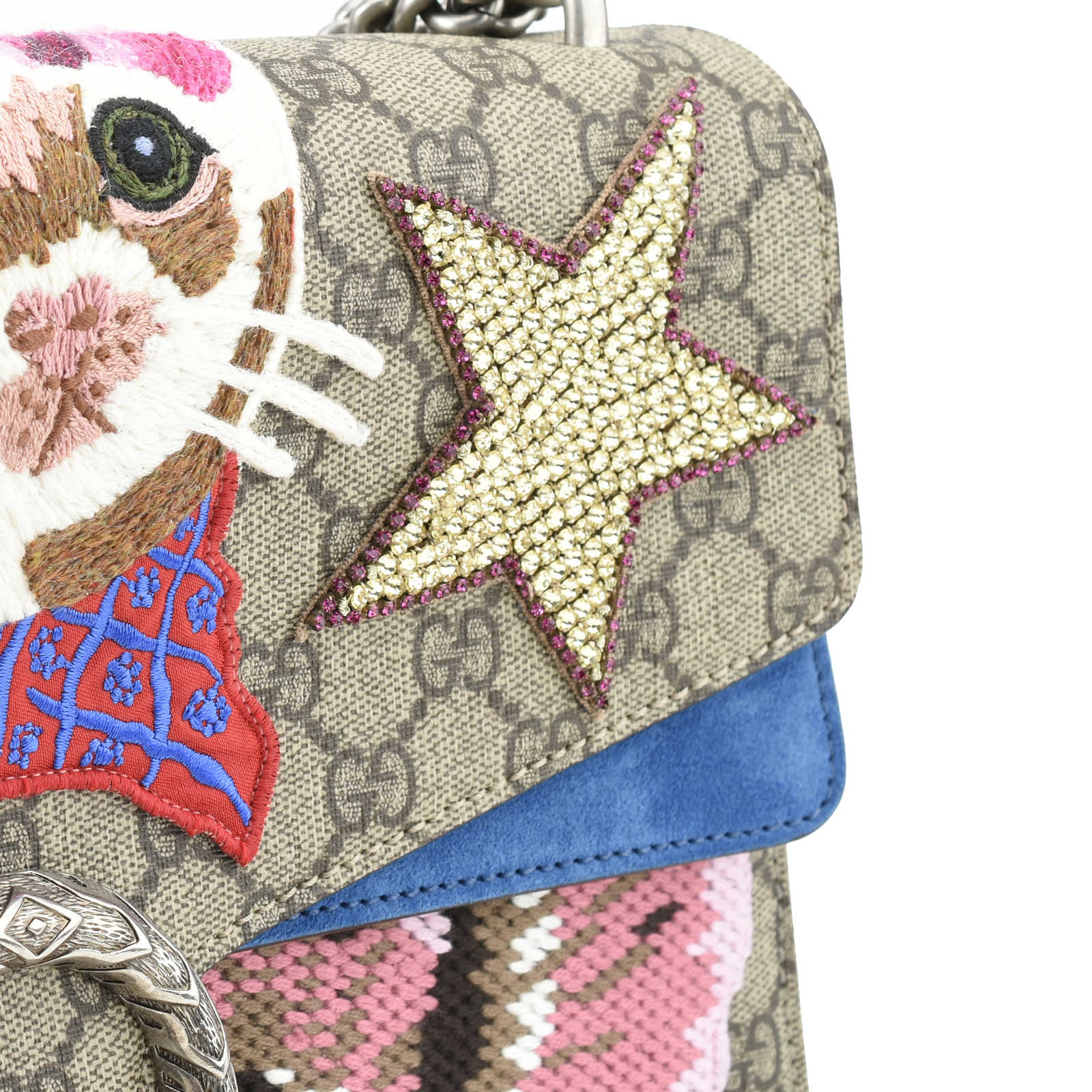 17bc909aa ... Authentic Second Hand Gucci Dionysus Marmont Embroidered Cat Shoulder  Bag (PSS-200-00990 ...