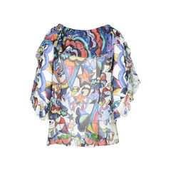 Tsumori chisato printed off shoulder top 2?1509347307
