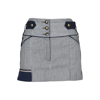 Authentic Second Hand Anthony Vaccarello Pinstriped Denim Skirt (PSS-200-00816)