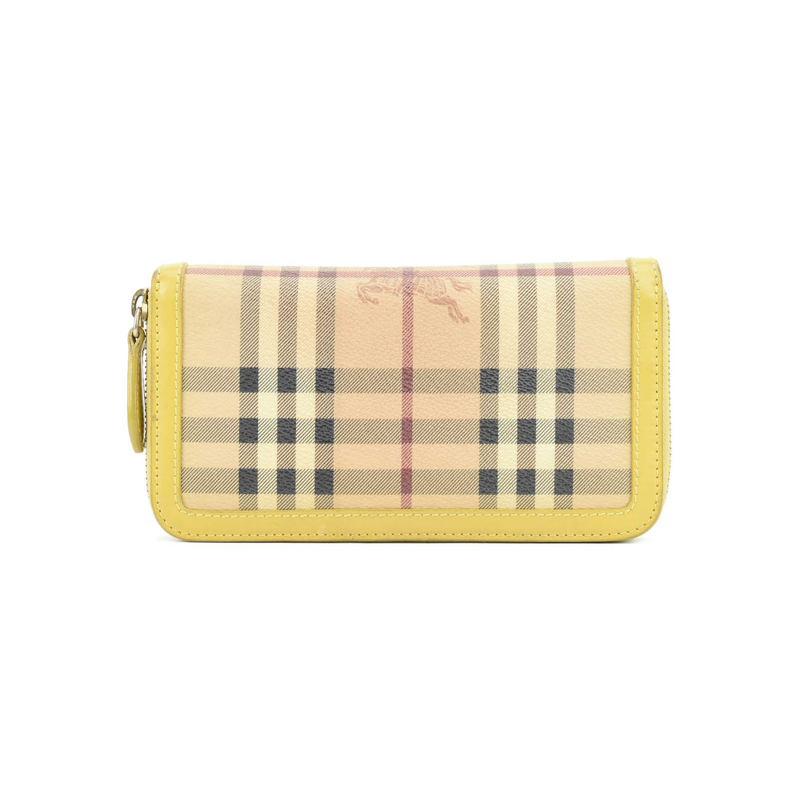 fbf8798a4274 Authentic Second Hand Burberry Haymarket Check and Leather Ziparound Wallet  (PSS-407-00005 ...