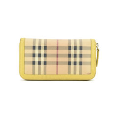 Burberry haymarket check and leather ziparound wallet 2?1509528004