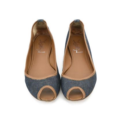 Authentic Second Hand Yves Saint Laurent Denim Peep-toe Flats (PSS-054-00139)