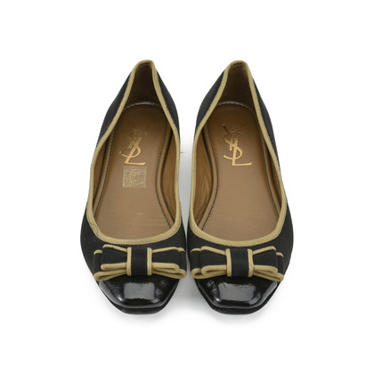 Authentic Second Hand Yves Saint Laurent Tuxedo Satin Bow Flats (PSS-054-00167)