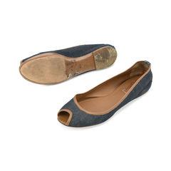 Yves saint laurent denim peep toe flats 2?1509529764