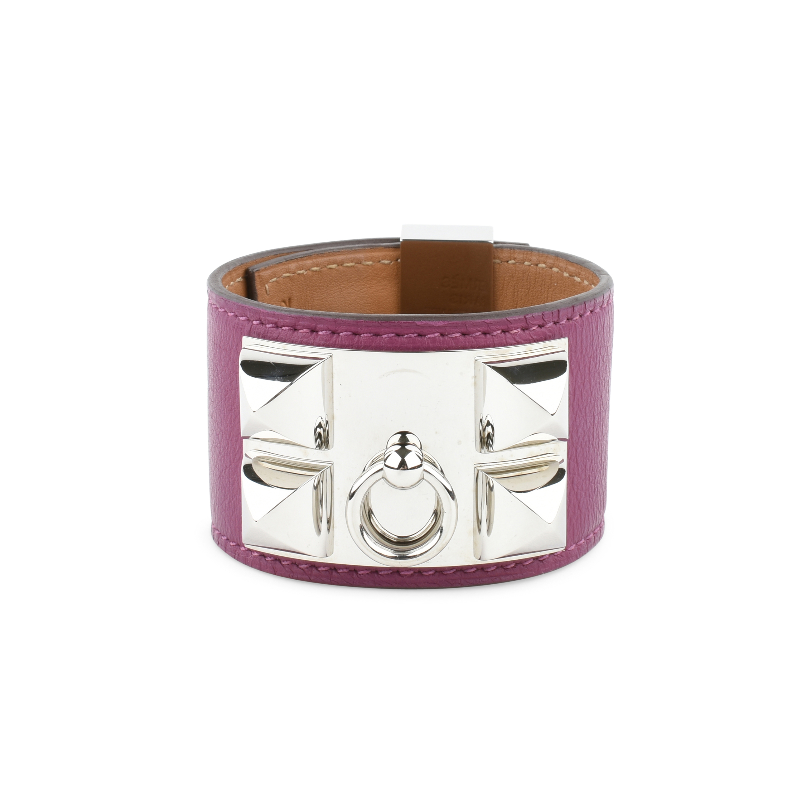 alligator garderobe bracelet hermes products kelly plated de cuff dog swift collier etoupe silver chien