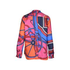 Hermes silk printed blouse 2?1510194561