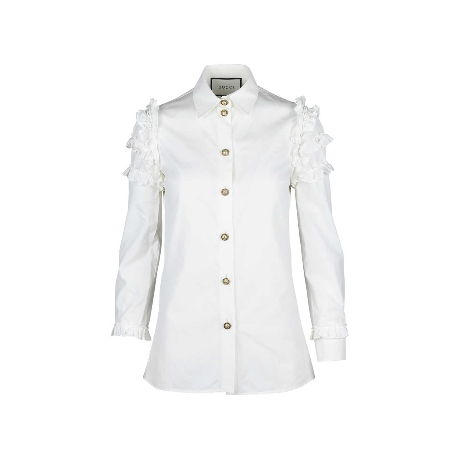 512b65033f2 Authentic Second Hand Gucci Ruffled Sleeve Shirt (PSS-051-00222) -  Thumbnail ...