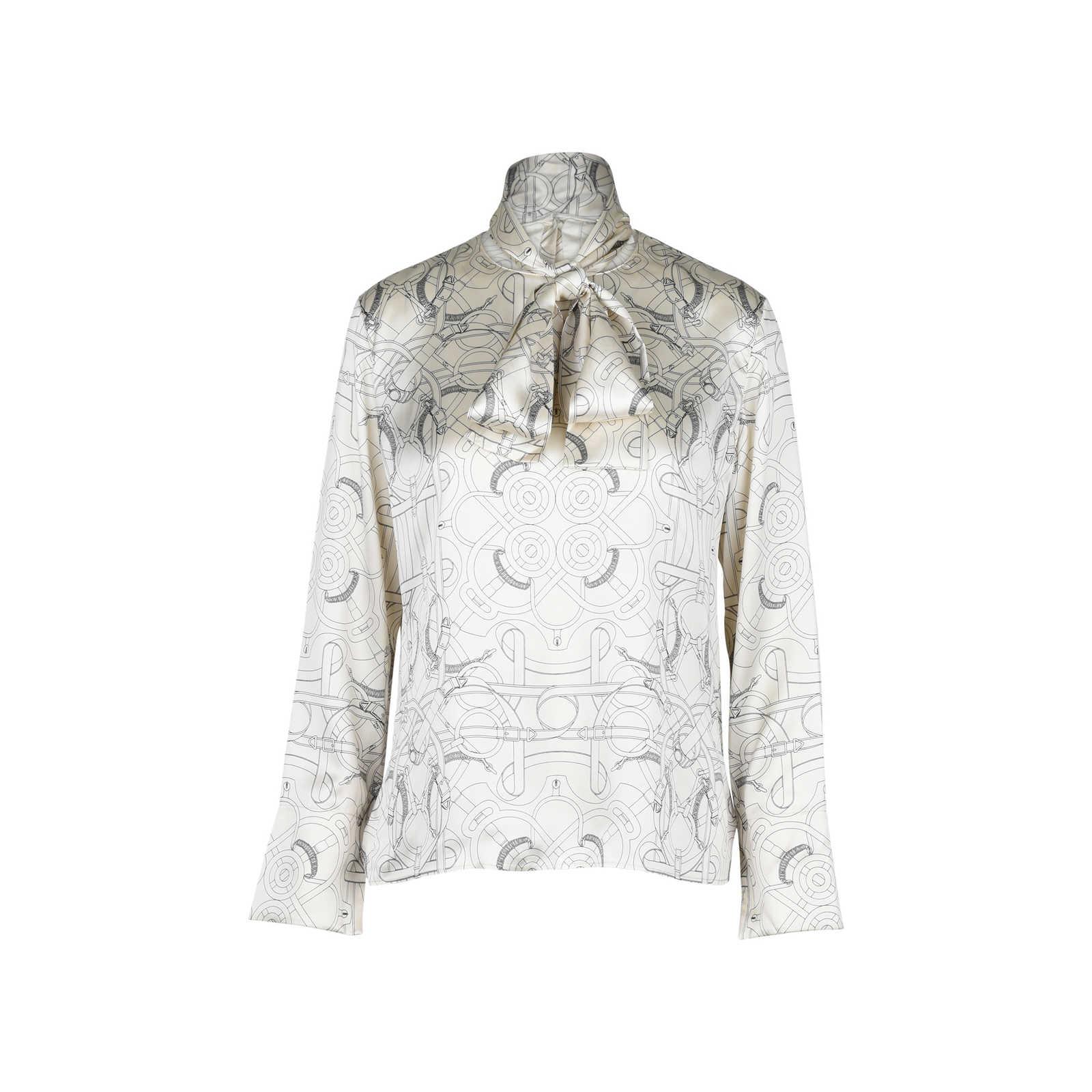 27f695c4f7fa65 Authentic Second Hand Hermès Tie Detail Silk Blouse (PSS-051-00213) ...
