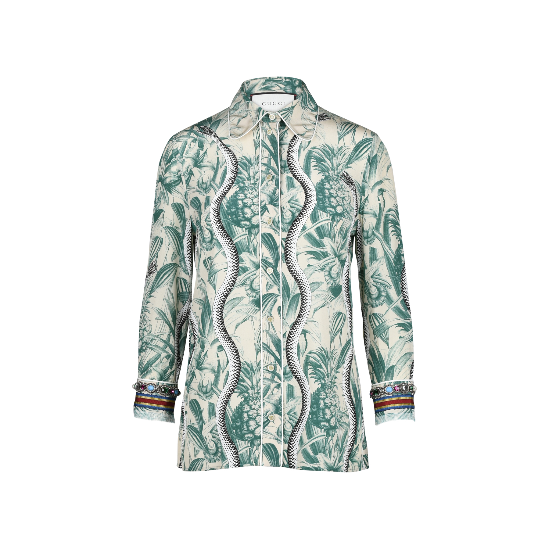 ce7620ba5b44 Authentic Second Hand Gucci Embellished Printed Silk Crepe De Chine Shirt  (PSS-051-00217)