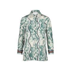 Embellished Printed Silk Crepe De Chine Shirt