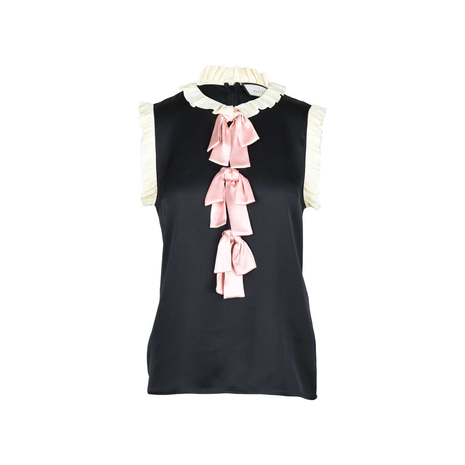 36d2968af1cb16 Authentic Second Hand Gucci Ruffled Trim Silk Blouse With Bows  (PSS-051-00219 ...