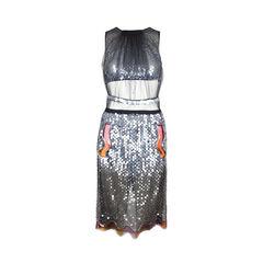 Pailette Hand-Embellished Dress with Aqua Panels