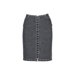 Hook Closure Denim Skirt
