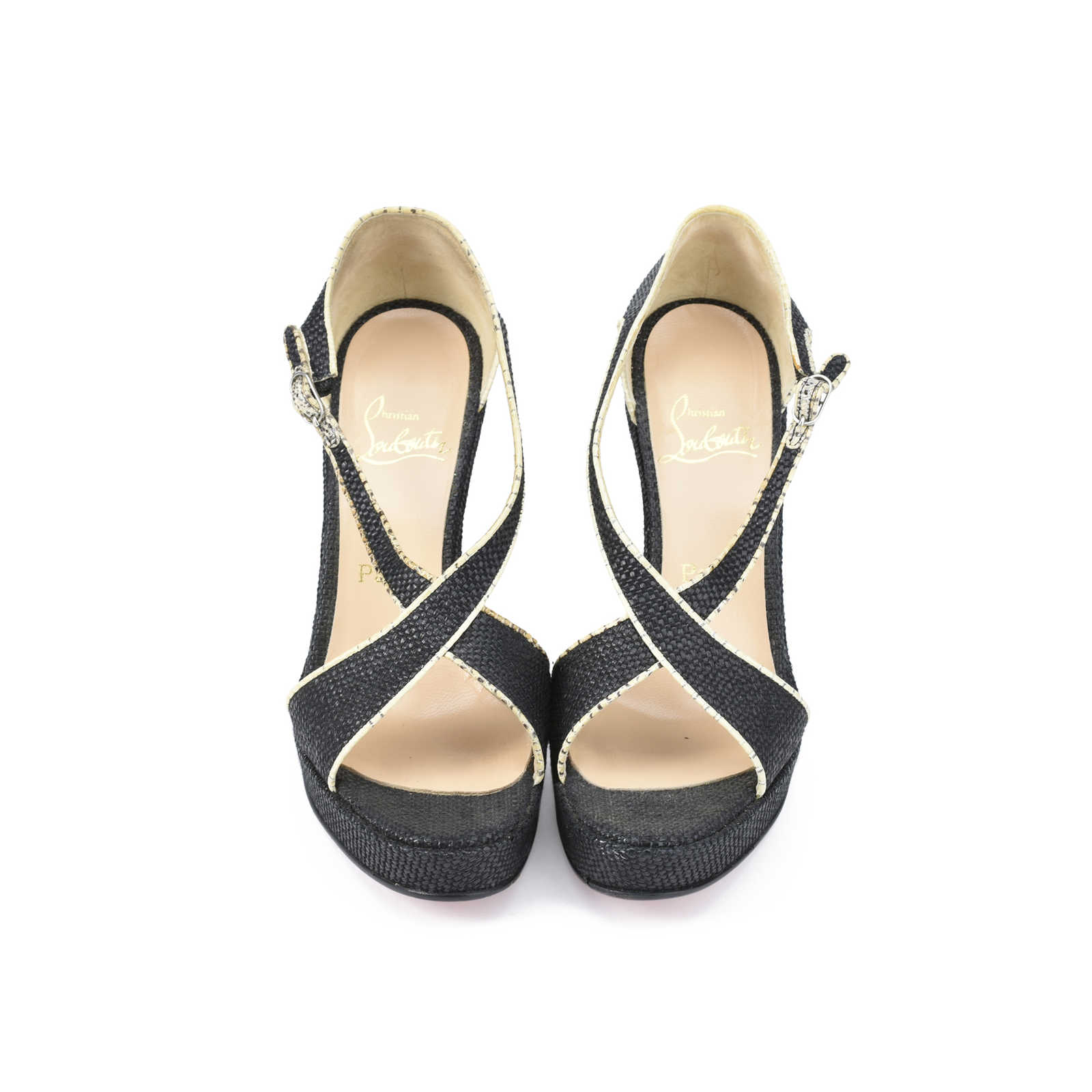 166bc4398a0 Authentic Second Hand Christian Louboutin Raffia Wedge Sandals  (PSS-393-00034) ...