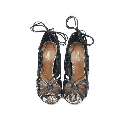 Authentic Second Hand Aquazzura Lola Lace-up Elaphe and Leather Sandal (PSS-191-00019)