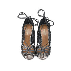 Lola Lace-up Elaphe and Leather Sandal