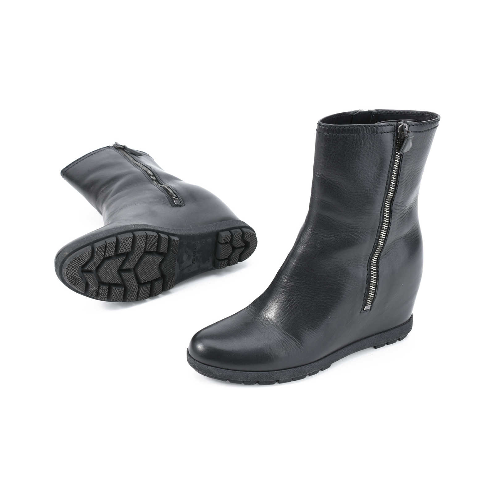 7695a3e254a13e ... Authentic Second Hand Prada Leather Double-Zipper Wedge Ankle Boots  (PSS-379- ...
