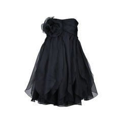Strapless Organza Ruffle Dress
