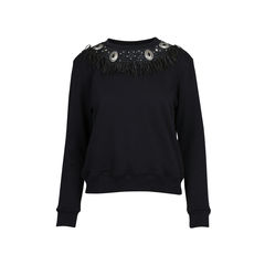 Leather and Silver Embellished Sweater