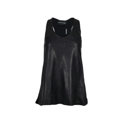 Authentic Second Hand Emporio Armani Leather Front Racerback Top (PSS-200-00591)