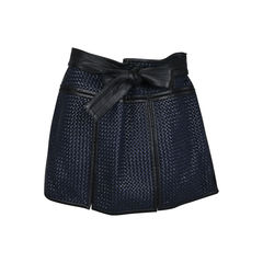 Basket Weave Leather Mini Skirt