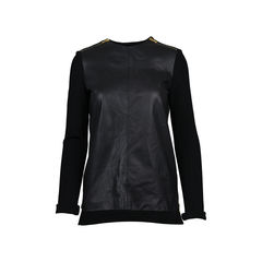 Leather Zip Front Sweater
