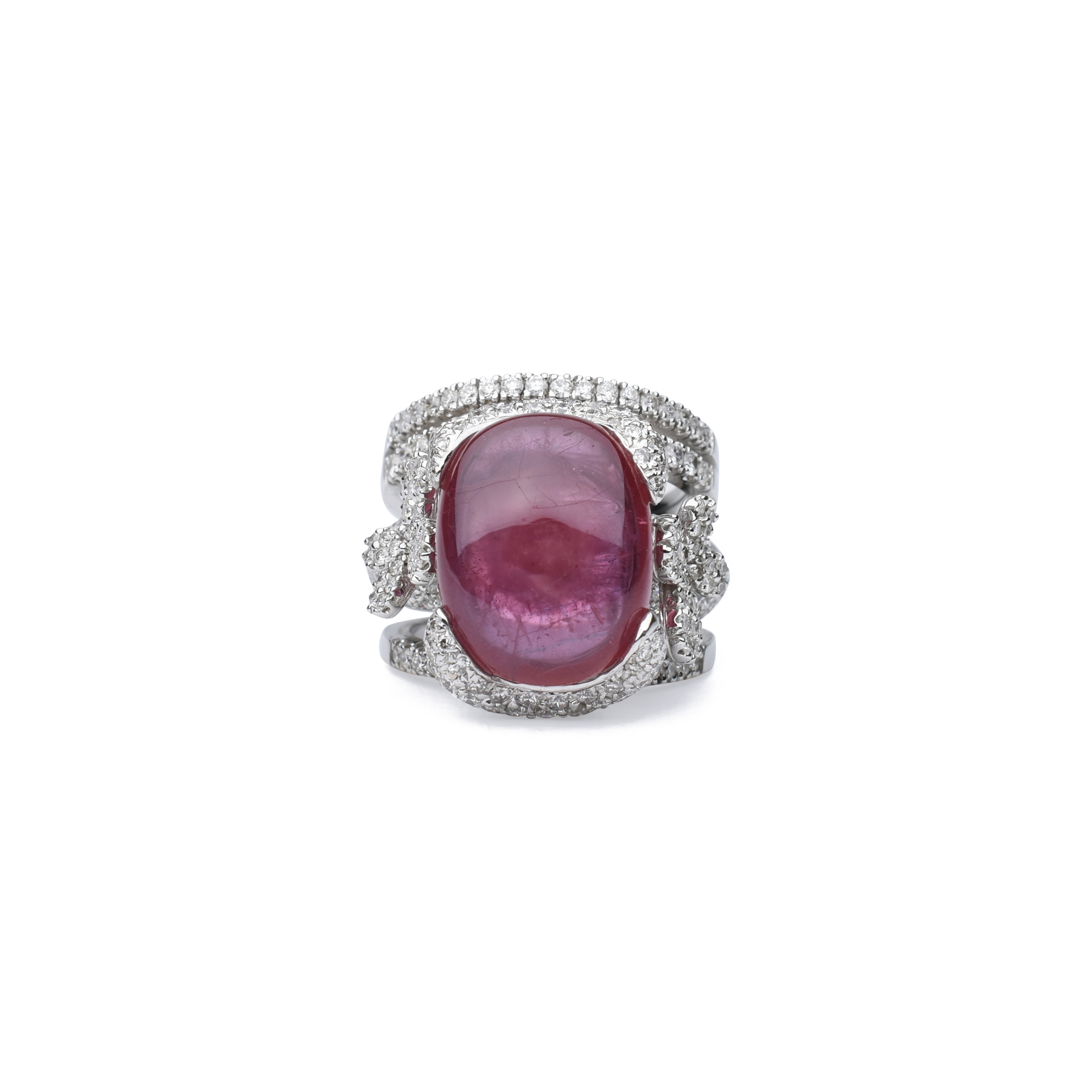 fifth cabochon diamond the second ruby products flower ring hand collection