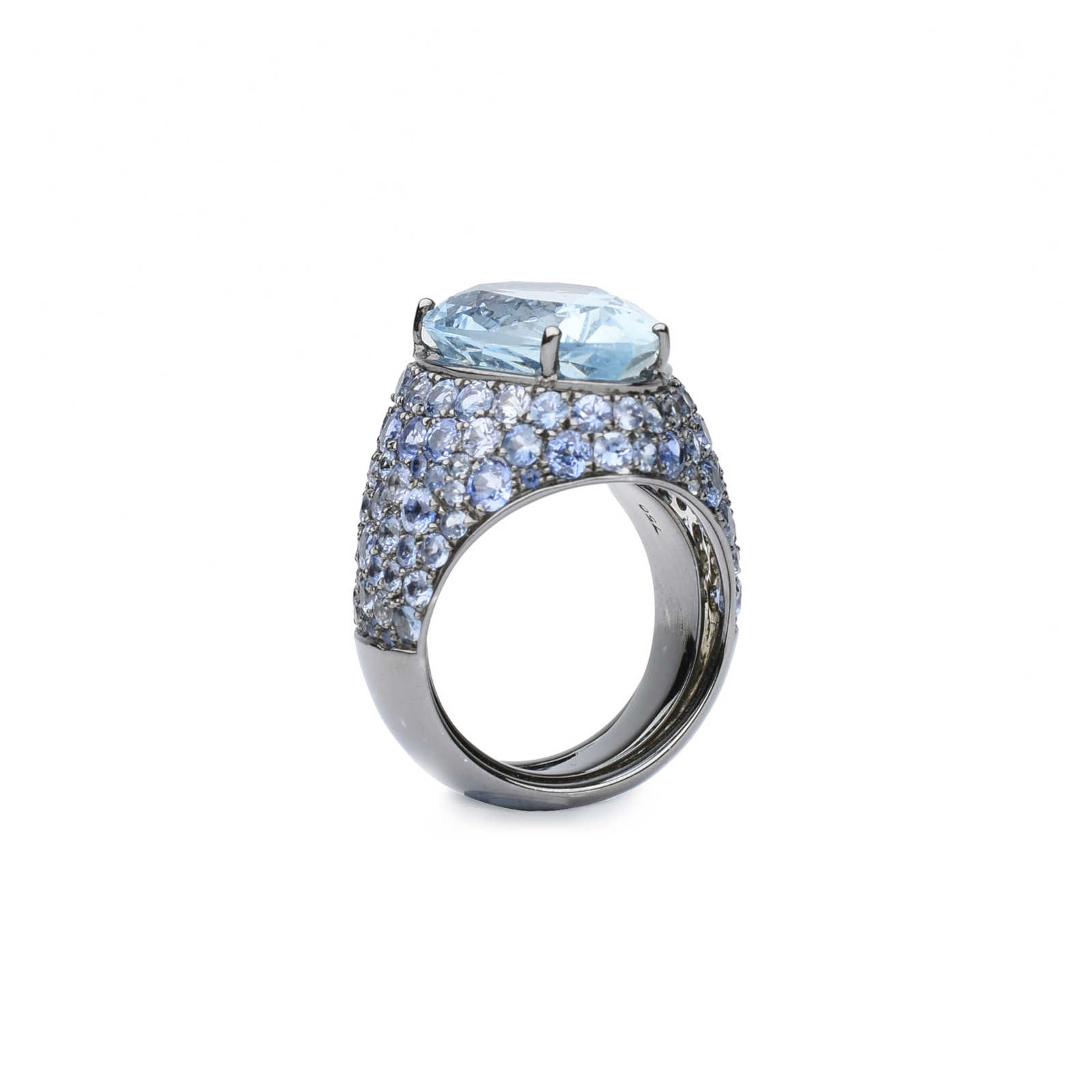 cushion ring white gemstonecolor aquamarine three sapphire silver gemstone stone in sterling