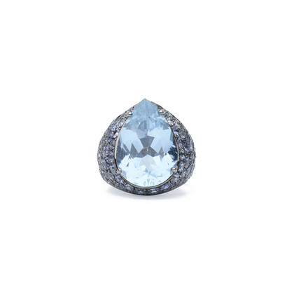 Authentic Second Hand Flower Diamond Aquamarine and Sapphire Ring (PSS-051-00275)