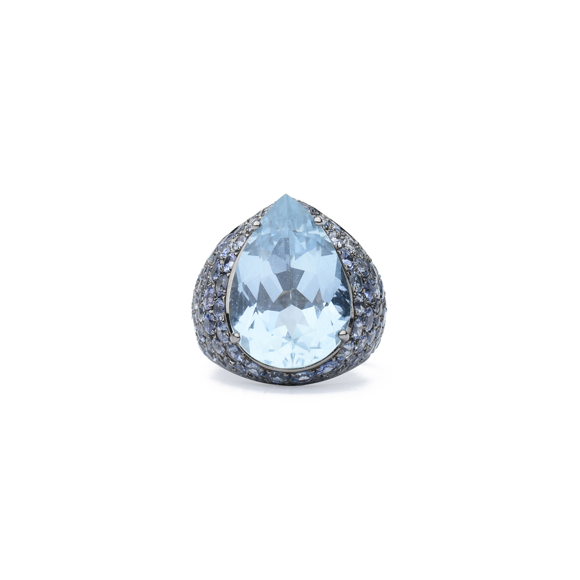 pear in shape ring tw jewellery with diamonds gold aquamarine white