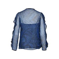 Emilio pucci ruffled sleeve printed silk shirt 2?1513567646