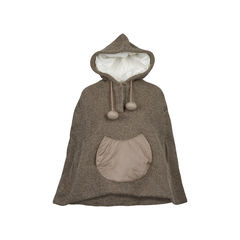 Brown Wool Cape with Hoodie