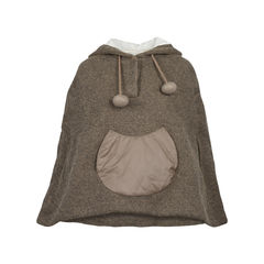Tsumori chisato brown wool cape with hoodie 7