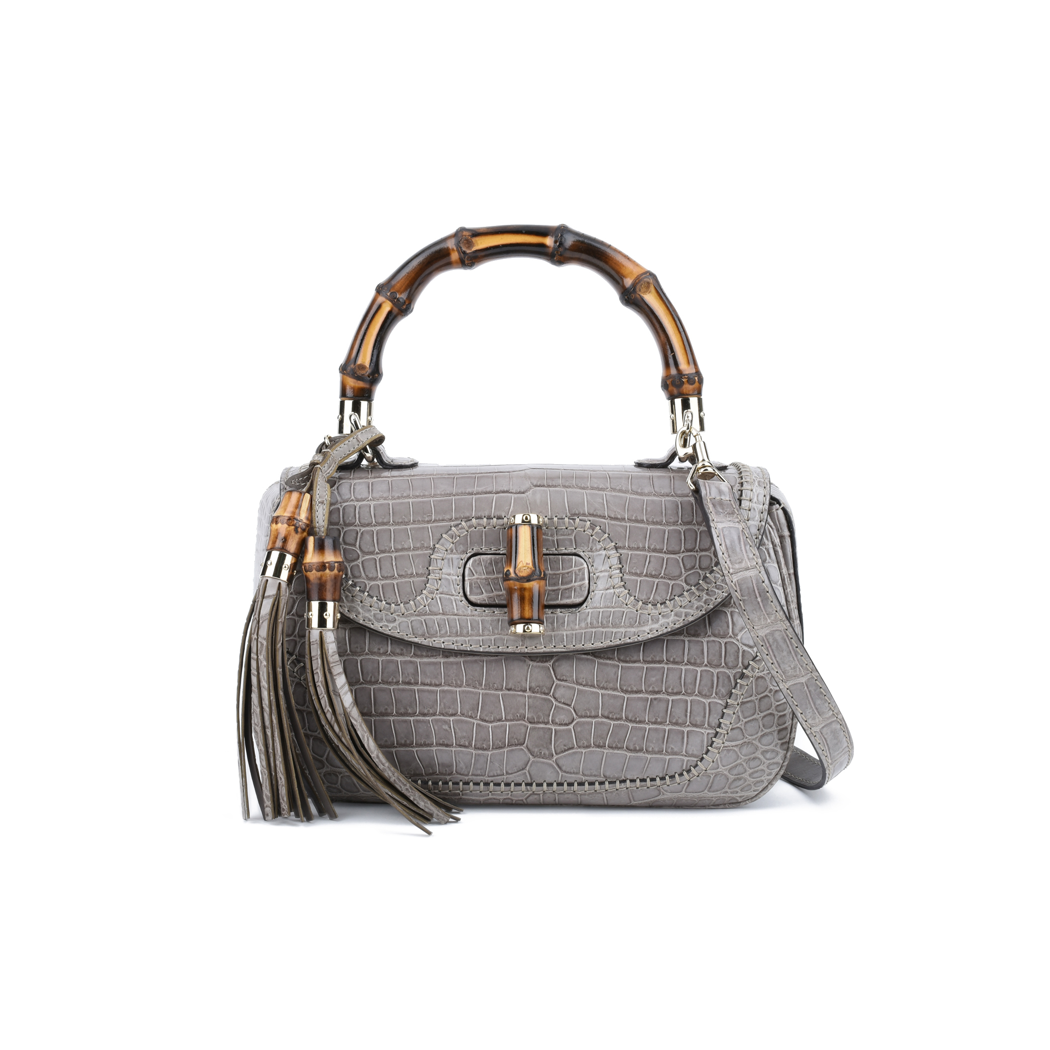 b5925241 Authentic Second Hand Gucci New Bamboo Crocodile Shoulder Bag  (PSS-075-00076) - THE FIFTH COLLECTION